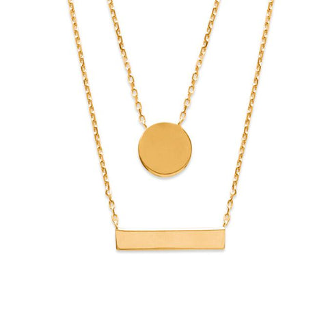 The double layered 'Above the Level' necklace is simple enough for layering with other necklaces in your collection.