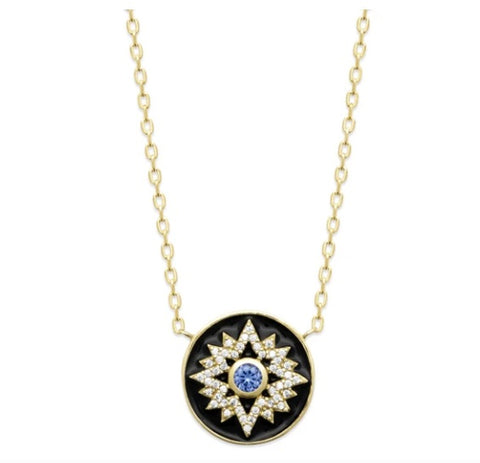 18K gold plated necklace with black enamel