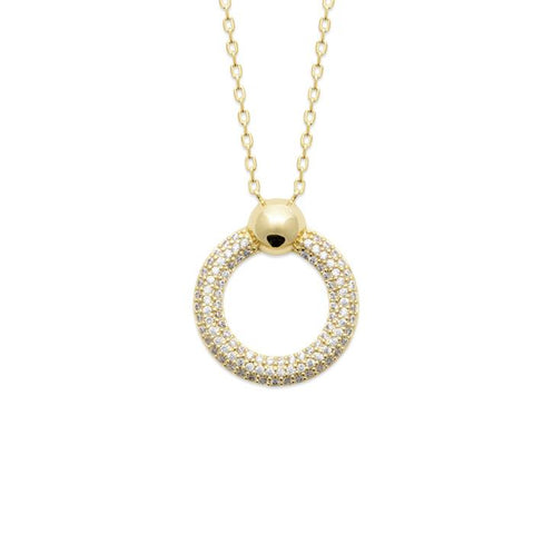 18K Yellow Gold Plated Open Cubic Zirconia Circle Necklace at Bramley's Jewellers of Carlow