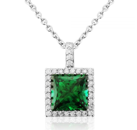 Waterford Crystal Sterling Silver White Cubic Zirconia and Emerald Set Pendant at Bramley's Jewellers of Carlow
