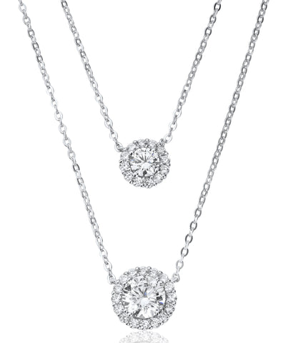Waterford Crystal Sterling Silver Cubic Zirconia Set Double Drop Halo Pendant.
