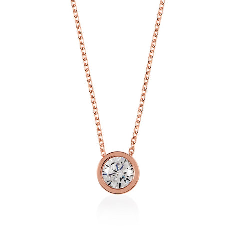 Radley Rose Gold Plated Fountain Road Ladies Logo with Stone Necklace.