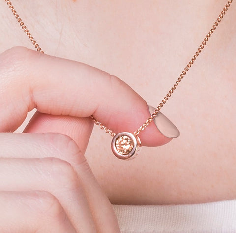 Radley Rose Gold Fine Curb Chain With Vintage Rose Gold Stone set Pendant.