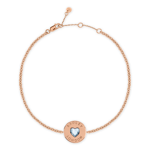 Radley 18ct Rose Gold Plated Stone Heart Disc Bracelet.