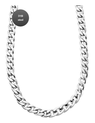 Lotus Style Man's Flat Curb Stainless Steel Necklace at Bramley's Jewellers of Carlow