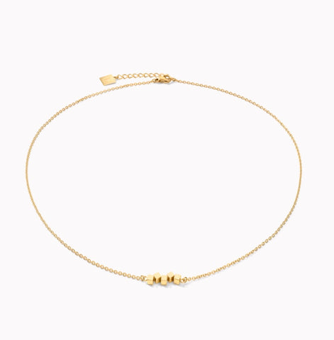 Coeur de Lion Necklace Dancing GeoCUBE® small stainless steel gold at Bramley's Jewellers of Carlow