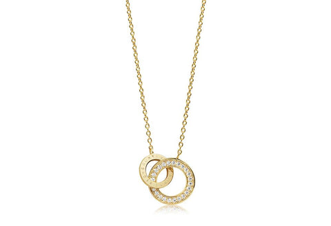 Necklace made of 18 karat gold plated 925 Sterling silver, polished surface and facet cut white zirconia.