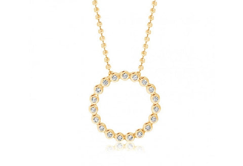 18K Yellow Gold plating on Sterling Silver open circle set with round white cubic zirconia pendant plus ball link chain at Bramley's Jewellers of Carlow
