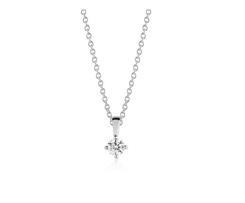 Sterling Silver and polished surface 4mm round cubic zirconia pendant plus chain at Bramley's Jewellers of Carlow