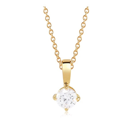18K Yellow Gold plating on Sterling Silver and polished surface 6mm round cubic zirconia pendant plus chain at Bramley's Jewellers of Carlow