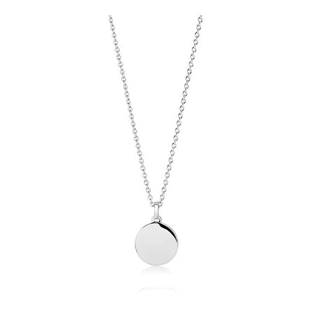 Sterling Silver with rhodium plating and polished surface round 12mm disc pendant that can be engraved plus chain at Bramley's Jewellers of Carlow