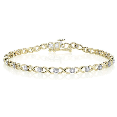 "9CT Yellow Gold ""X"" Link set with Diamonds in an Illusion Set, Tennis Bracelet."