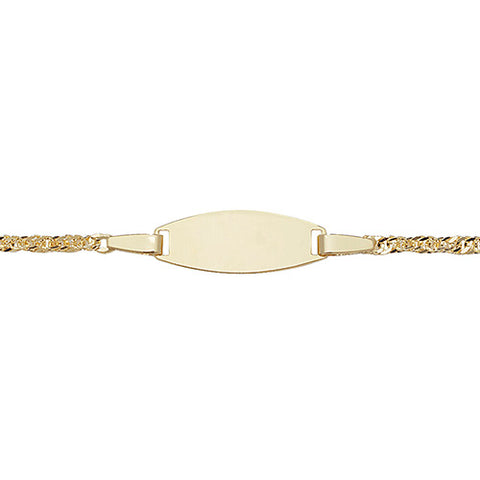9ct Yellow Gold Babies 5+1 Inches oval ID Bracelet at Bramley's Jewellers of Carlow
