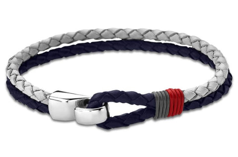 Lotus Style Man's Navy/White Leather and Stainless Steel Bracelet at Bramley's Jewellers of Carlow