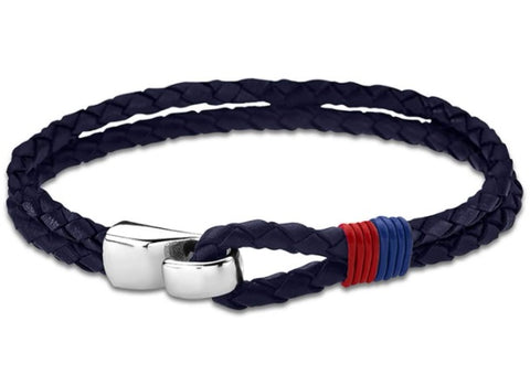 Lotus Style Man's Navy Leather and Stainless Steel Bracelet at Bramley's Jewellers of Carlow