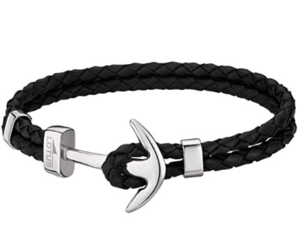 Lotus Style Man's Double Black Leather Band and Stainless Steel Hook Clasp Bracelet at Bramley's of Carlow