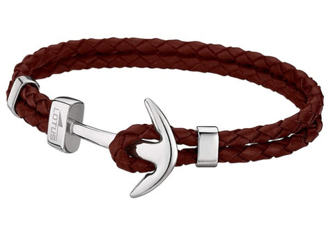 Lotus Style Man's Double Brown Leather Band and Stainless Steel Hook Clasp Bracelet at Bramley's of Carlow