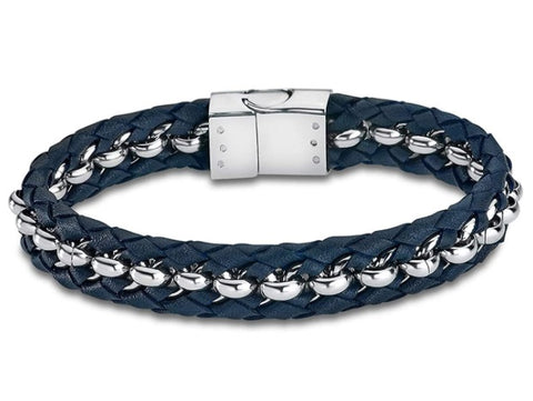 Lotus Style Man's Navy Leather and Stainless Steel Bracelet at Bramleys Jewellers of Carlow