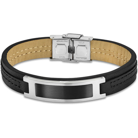 Lotus Style Man's Black Leather and Stainless Steel Bracelet at Bramley's Jewellers of Carlow