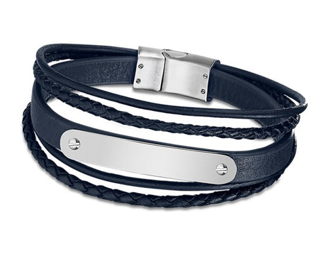 Lotus Style Man's Navy 5 Leather Bands and Stainless Steel Magnetic Clasp Bracelet at Bramley's of Carlow