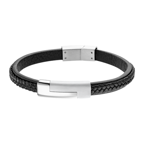 Lotus Style Man's Black Leather Band and Stainless Steel Magnetic Clasp Bracelet at Bramley's Jewellers of Carlow