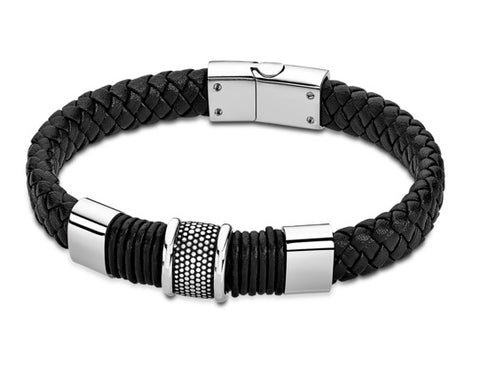 Lotus Style Man's Black Wide Leather Band and Stainless Steel Magnetic Clasp Bracelet at Bramley's of Carlow