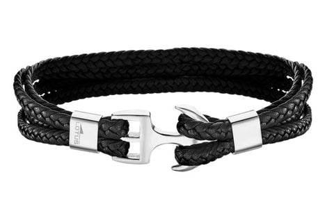 Lotus Style Man's 4 Black Leather Bands and Stainless Steel Hook Clasp Bracelet at Bramley's Jewellers of Carlow