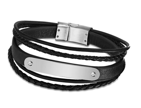 Lotus Style Man's Black 5 Leather Bands and Stainless Steel Magnetic Clasp Bracelet at Bramley's of Carlow