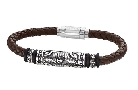 Lotus Style Man's Brown Leather Band and Stainless Steel Magnetic Clasp Bracelet at Bramley's Of Carlow