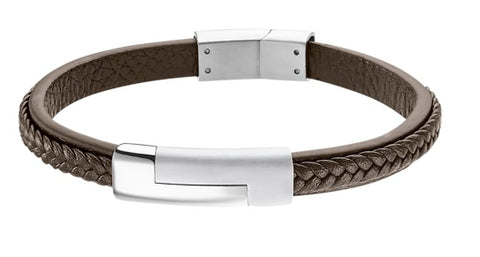 Lotus Style Man's Brown Leather Band and Stainless Steel Magnetic Clasp Bracelet at Bramley's Jewellers of Carlow