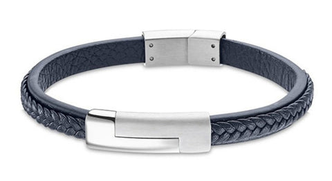 Lotus Style Man's Navy Leather Band and Stainless Steel Magnetic Clasp Bracelet at Bramley's Jewellers of Carlow