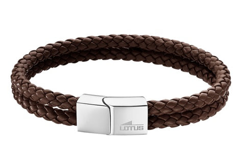 Lotus Style Man's Brown Leather 2 Band and Stainless Steel Magnetic Clasp Bracelet at Bramley's of Carlow