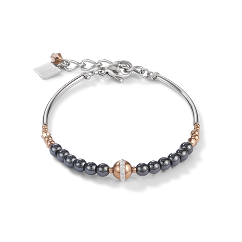 delicate bracelet handmade from haematite, rose gold stainless steel and pavé-set crystals.