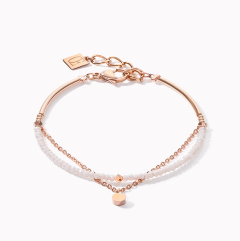 Coeur de Lion Bracelet Coins & Chains rose gold-white at Bramley's Jewellers of Carlow