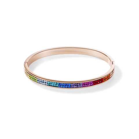 Coeur De Lion Bangle stainless steel rose gold & crystals pavé multicolour at Bramleys of Carlow