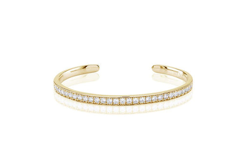 18K Yellow Gold plating on Sterling Silver bangle set with round white cubic zirconia at Bramley's Jewellers of Carlow