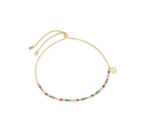 18K Yellow Gold plating on Sterling Silver bracelet set with round multicoloured cubic zirconia at Bramley's Jewellers of Carlow