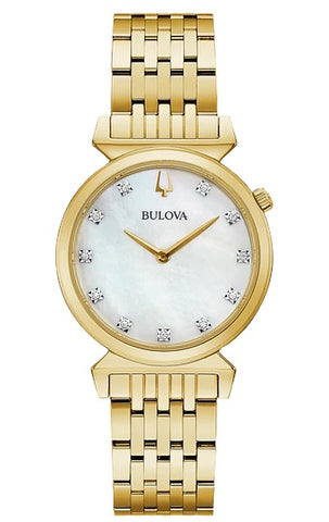 Bulova heritage timepieces, the gold-tone stainless steel Regatta features a white mother-of-pearl dial set with 11 diamonds, the crown at the 2 o'clock position, and unique angled lugs. Flat sapphire crystal, slim quartz movement, and water resistance to 30 meters.