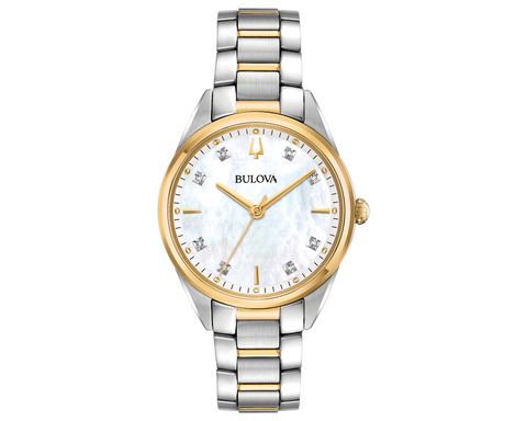 Slim stainless steel and gold-tone case, lustrous white mother-of-pearl three-hand dial with 8 diamonds, domed sapphire crystal, stainless steel and gold-tone bracelet with push-button deployant clasp, quartz movement, and water resistance to 30 meters. Diameter: 32mm Thickness: 8.4mm. At Bramley's Jewellers of Carlow