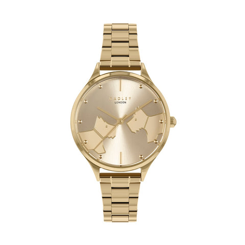 Radley Yellow Gold on Stainless Steel Printed  round Face Watch and Bracelet.