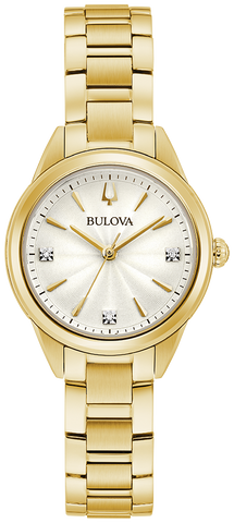 Gold-tone stainless steel case and bracelet with a silver white dial featuring three diamonds set on the dial and gold-tone hands and markers. Domed mineral crystal. Short fold over buckle closure.
