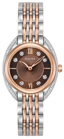 From the Ladies Classic Collection. New contoured case in stainless steel and rose gold-tone, 24 diamonds individually hand set on case frame and on brown dial, curved sapphire crystal, stainless steel