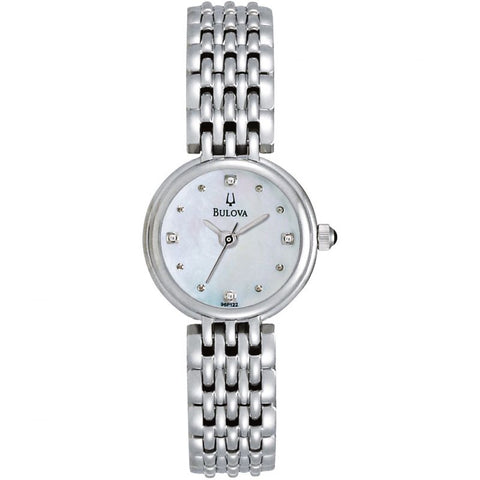 Ladies Bulova Essentials watch in high-shine stainless steel, set around a mother of pearl dial with spot hour markers