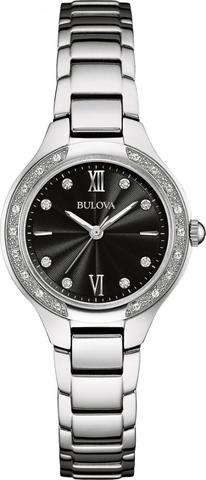 Bulova Diamonds collection, In stainless steel finish and 10 diamonds individually hand set on black dial, flat sapphire glass, jewelry inspired bracelet, and double press deployant closure.