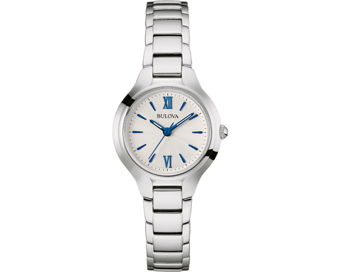 From the Classic collection. In stainless steel case with silver-tone finish and silver-white dial, flat mineral glass, three-hand analogue movement, majestic blue hands and dial details, and fold-over closure.