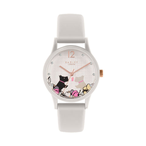 Radley White Case and Silicone Strap with floral & Dog print on dial Watch.