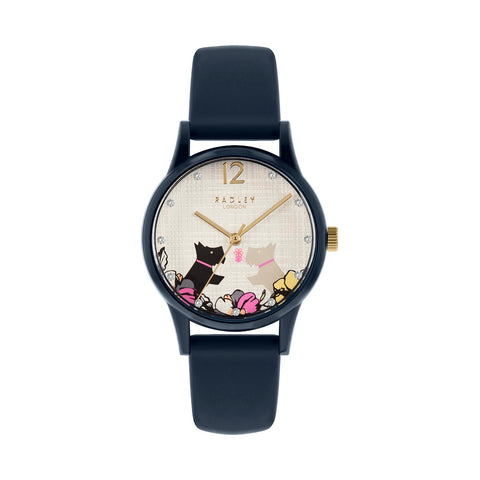 Radley Navy Case and Silicone Strap with floral & Dog print on dial Watch.