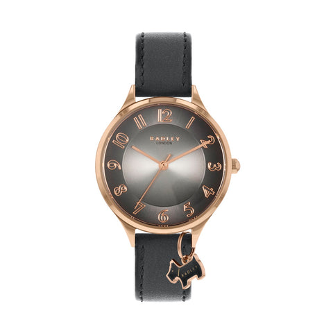 Radley Rose Gold Plated Round case with Grey/Black Face and Black Leather Strap plus Rose Gold Charm.