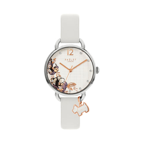 Radley Stainless Steel Round Floral Print Face Watch with white leather strap plus silver charm.