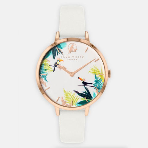 This watch has a rose gold plated case, white printed dial and white genuine leather strap.